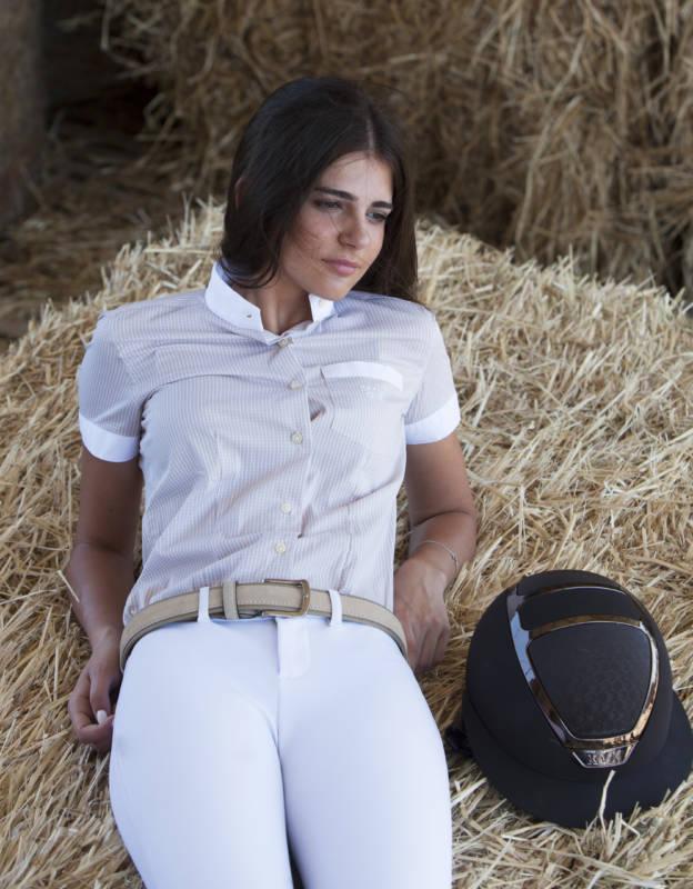 camicia quadretto beige