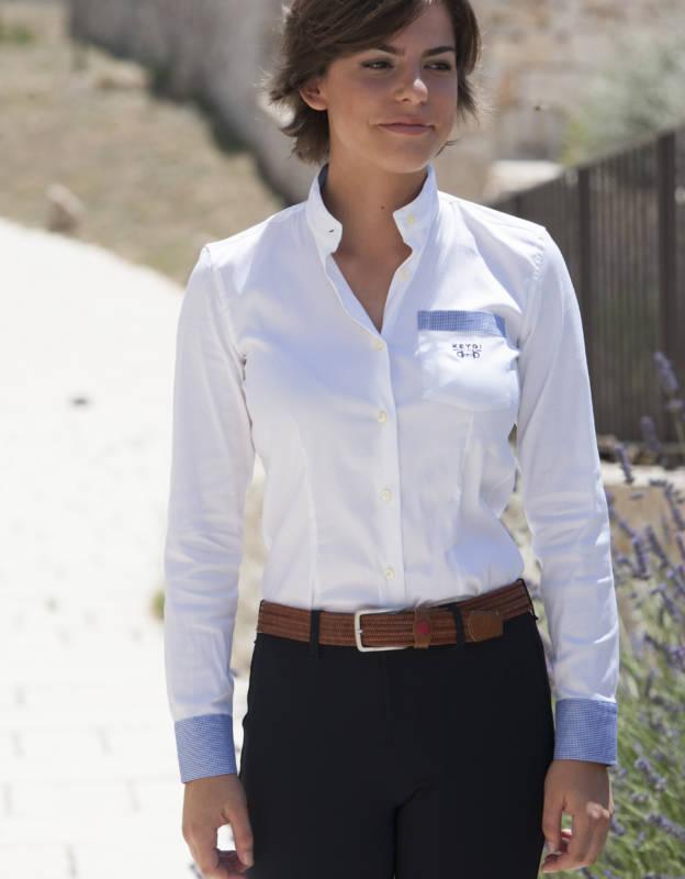camicia manica lunga pique con dettagli pied de poule blu