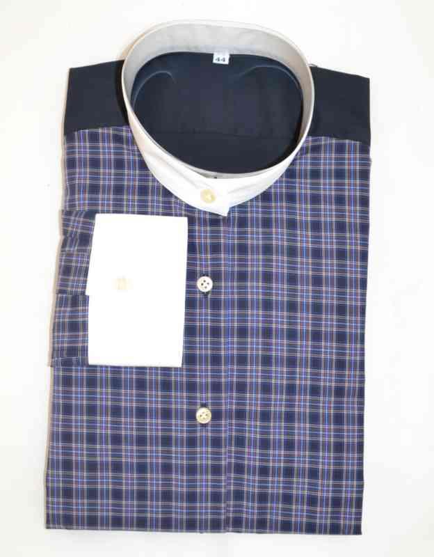 camicia scozzese blu manica lunga