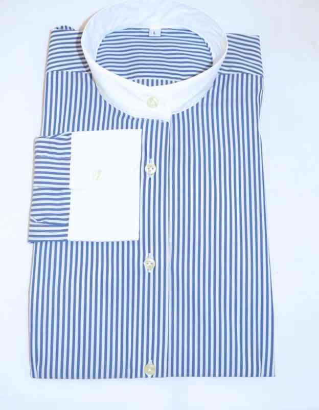 camicia righe blu manica lunga