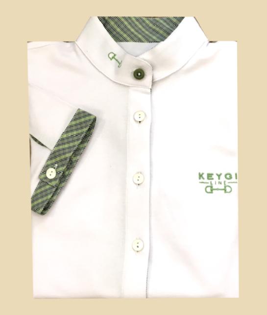 polo camicia con dettagli vichi verdi